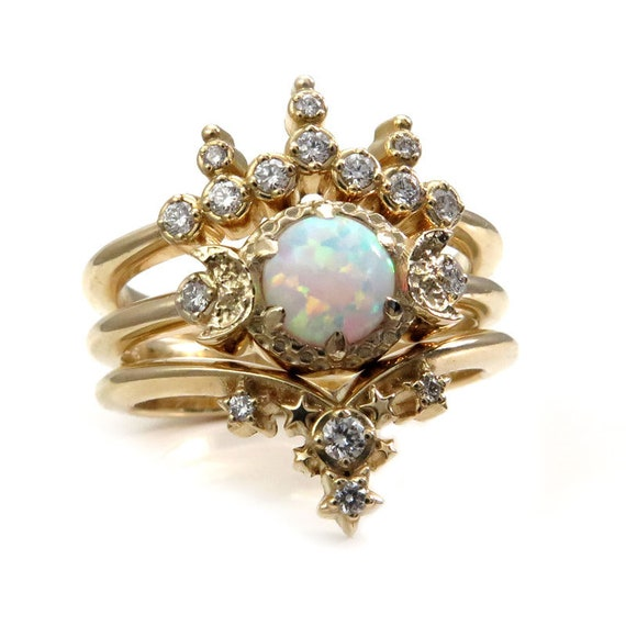 Triple Moon Engagement Ring Set - Lab Opal with Diamond Side Bands - Celestial Wedding Set