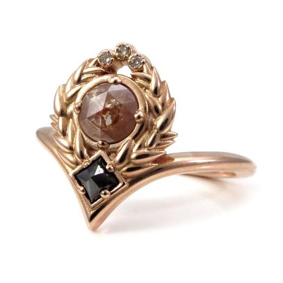 Sweetgrass Chevron Engagement Ring - Rose Cut Diamonds with Reverse Set Black Princess Diamond