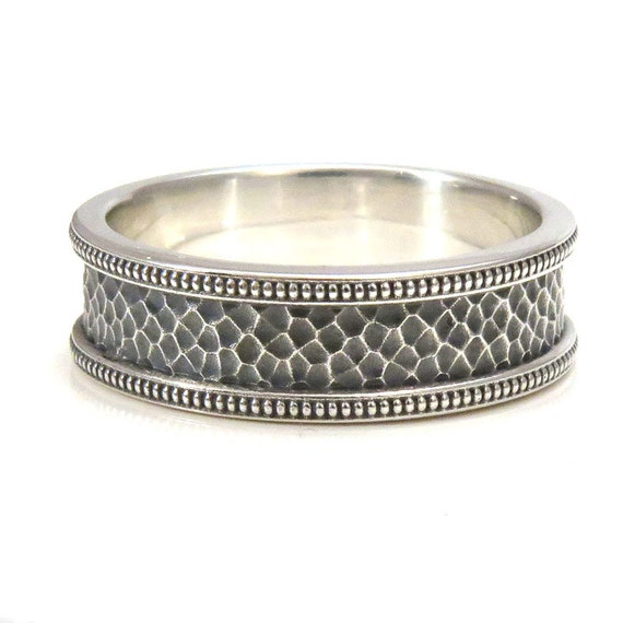 Mens Hammered Silver Ring with Millgrain Rails- Handmade Wedding Band
