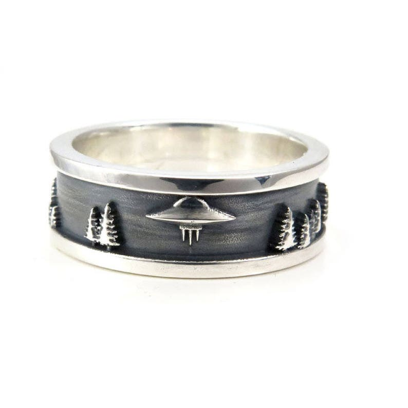 0597c74a6b1c4 Mens Forest Abduction UFO Ring - Sterling Silver - Sci-Fi Wedding Band