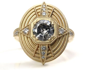 Ready to Ship Size 6 - 8 - Art Deco Compass Rose Ring with Salt & Pepper Diamond Center and White Diamonds - Sandblasted 14k Yellow Gold