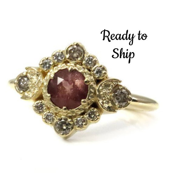 Ready to Ship Size 6-8 - Oregon Sunstone Moon Halo Engagement Ring - Natural Champagne Diamonds in 14k Yellow Gold