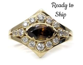 Ready to Ship Size 6 - 8 Marquise Mali Cinnamon Garnet Modern Art Deco Halo Engagement Ring - 14k Yellow Gold