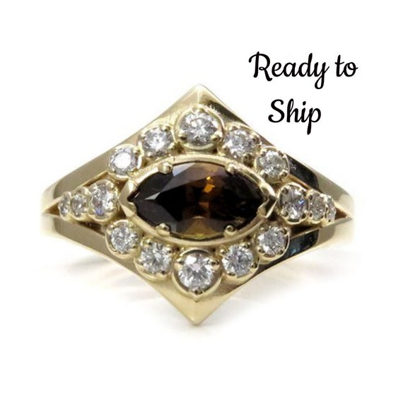 Ready to Ship Size 6 - 8 Marquise Mali Cinnamon Garnet Modern Art Deco Halo Engagement Ring - 14k Yellow Gold