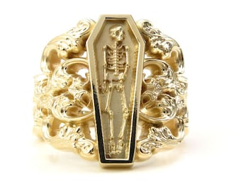 Memento Mori Ring with Baroque Gold Scrolls Skeleton Mourning Jewelry - Fine Gothic Jewelry