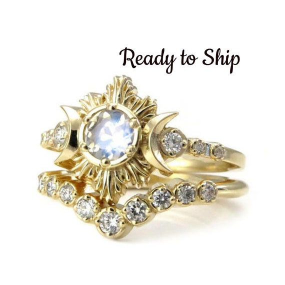 Ready to Ship Size 6-8 - Moonstone and Diamond Engagement Ring Set - 14k Yellow Gold Ceremonial Jewelry