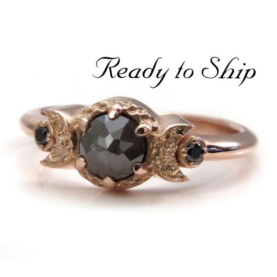 Ready to Ship Size 4.5 - 6.5 - Dark Gray Rose Cut Diamond Moon Ring - Triple Moon Goddess Engagement Ring with Black Diamonds