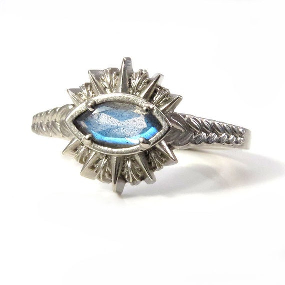 Ready to Ship Size 6 - 8 Labradorite Marquise Sage Burning Evil Eye Ring - 14k Palladium White Gold