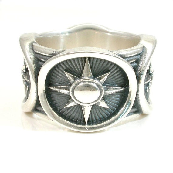 Mens Sterling Silver Compass Ring