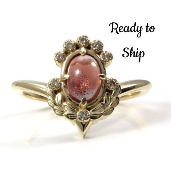 Ready to Ship Size 6-8 - Oregon Sunstone Engagement Ring with Sage Leaves and Honey Champagne Diamonds