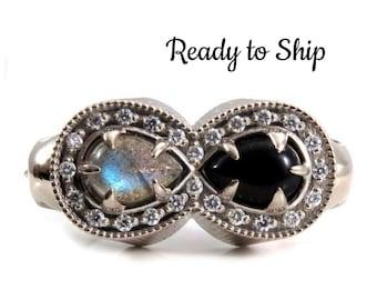 Ready to Ship Size 6.5 - 8.5 - Life and Death Diamond Memento Mori Mourning Ring - 14k Palladium White Gold Skull Onyx and Labradorite