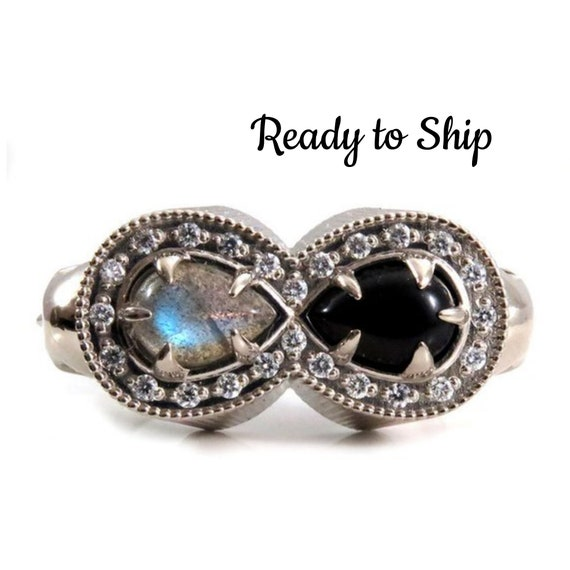 Ready to Ship Size 6.5 - 8.5 - Life and Death Diamond Memento Mori Mourning Ring - 14k Palladium White Gold Skull Onyx and Labradorite