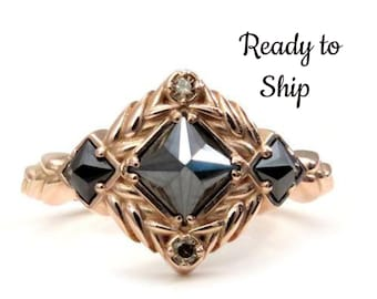 Ready to Ship Size 6 - 8 - Reverse Set Black Princess Diamond Engagement Ring - Sweetgrass Botanical Collection