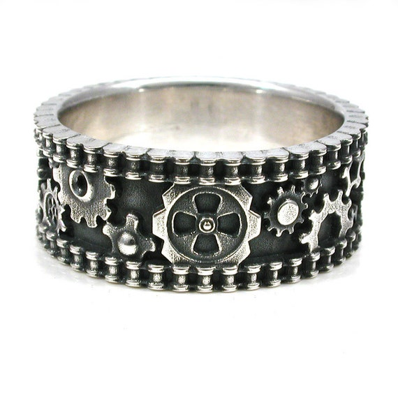Bike Chain Ring - Steam Punk Silver Gear Ring - Industrial Wedding