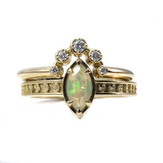 Opal Moon Phase Engagement Ring with Diamond Constellation Wedding Band