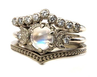 Moonstone Engagement Ring Set - Diamond Chevron Wedding Band and Millgrain Stacking Ring
