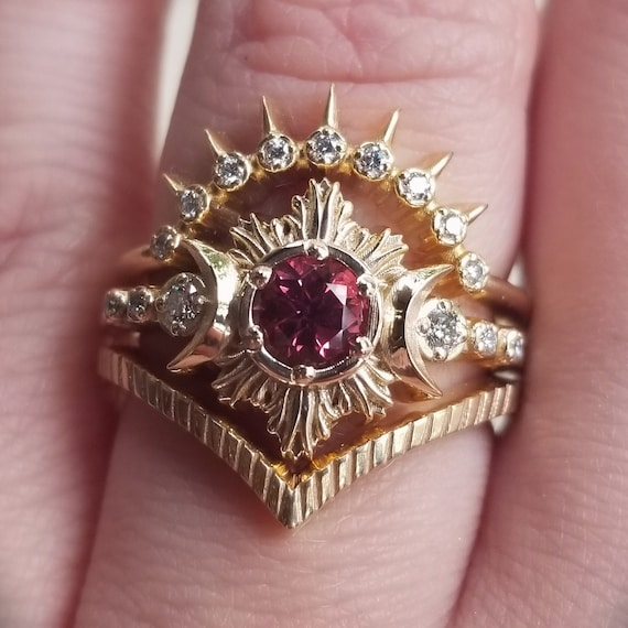 Malaya Garnet Moon Fire Engagement Ring Set - Diamond and Yellow Gold Celestial Moon Ring with Stacking Wedding Bands