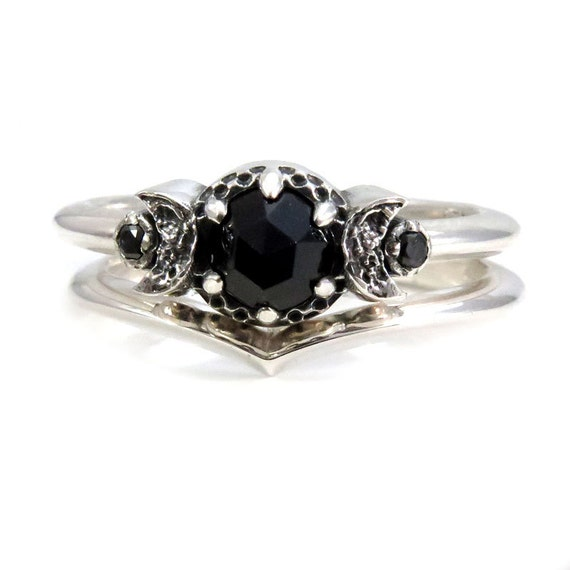 Gypsy Moon Child Black Diamond and Black Spinel Stacking Ring Set in Sterling Silver with Crescent Moons