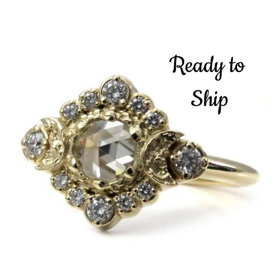 Ready to Ship Size 6-8 - Light Grey Rose Cut Moissanite Moon Halo Engagement Ring - White Diamonds in 14k Yellow Gold