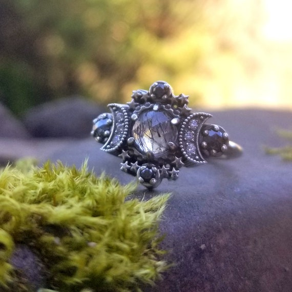 Ready to Ship Size 6 - 8 - Black Rutile Quartz Cosmos Moon and Star Ring - Sterling Silver with Stardust Diamond Chevron
