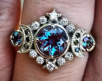 Selene Moon Goddess Ring - Chatham Alexandrite with Black and White Diamonds - 14k Palladium White Gold
