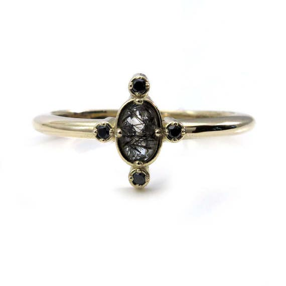 Black Rutile Quartz Tiny Compass Ring with Black Diamonds - 14k Yellow, Rose or White Gold