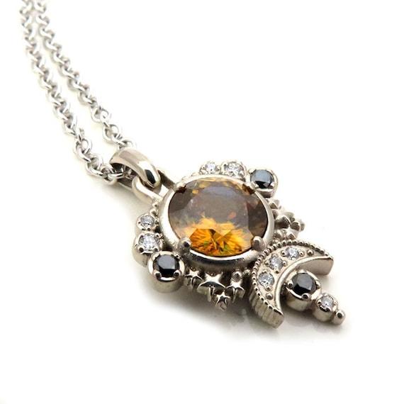 Sphene Moon Pendant - Black and White Diamond Celestial Necklace - 14k Palladium White Gold - Ready to Ship