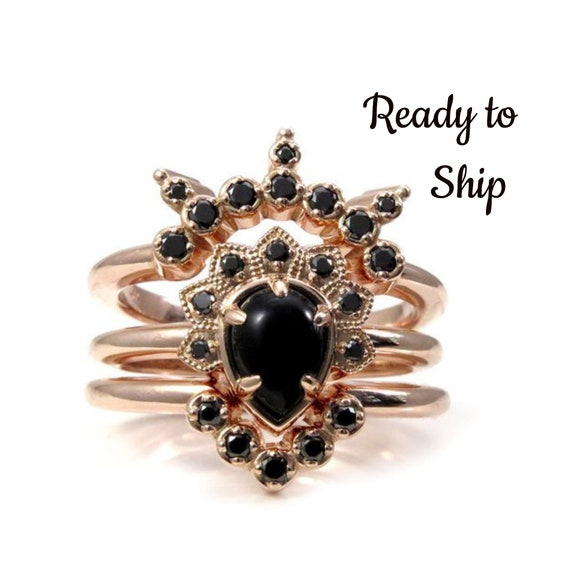 Ready to Ship Size 6 - 8 - Pear Onyx and Black Diamond Asteroid Engagement Ring Set - 14k Rose Gold