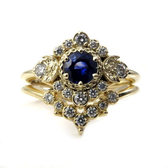 Blue Moon Sapphire Engagement Ring Set with Dripping Diamond Wedding Band - 14k Gold - Handmade Engagement Rings