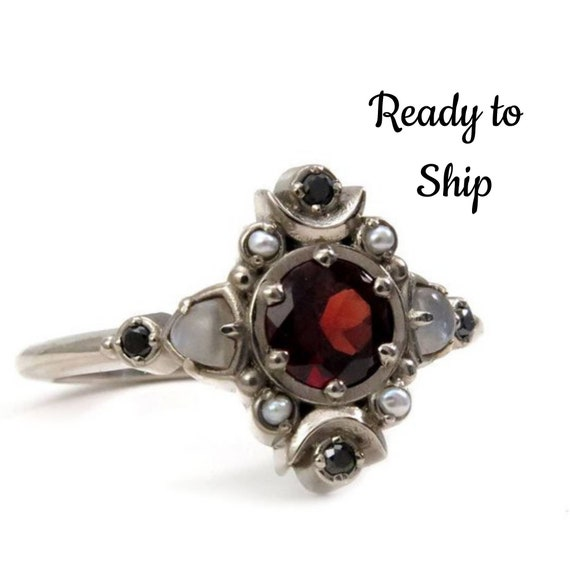 Ready to Ship Size 9-11 - Moon Empress Engagement Ring - Red Garnet with Grey Moonstone Trillions, Grey Seed Pearls and Black Diamonds