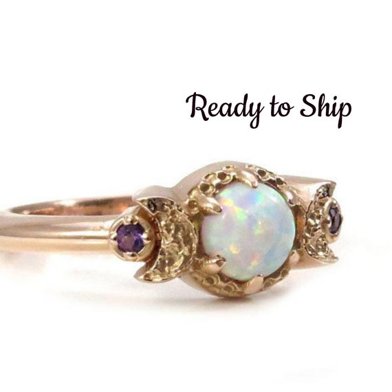 Ready to Ship Size 4-6 - Lab Opal Moon Ring - Triple Moon Goddess Engagement Ring