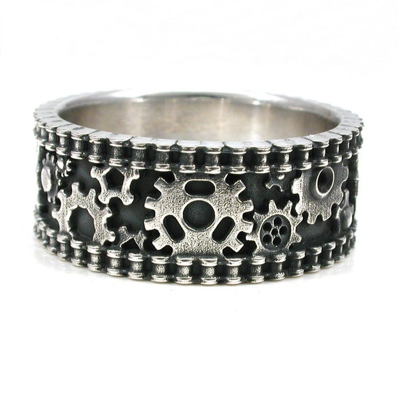 Size 9.25 - 10 Bike Chain Gear Ring - Sterling Silver - READY TO SHIP