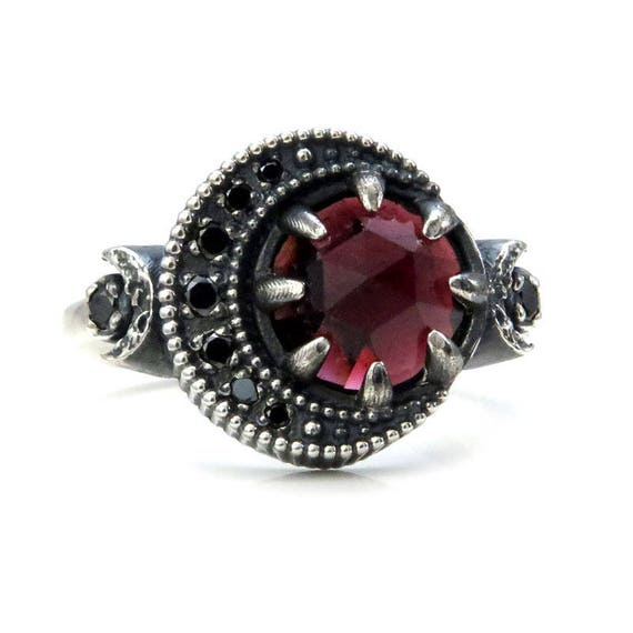 Garnet Blood Moon Ring - Sterling Silver Celestial Fine Jewelry - Black Diamond or Moissanite Crescent