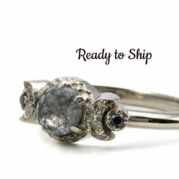 Ready to Ship Size 6 - 8 Black Rutile Quartz Crescent Moon Engagement Ring - 14k Palladium White Gold with Black Diamonds