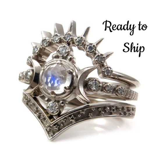 Ready to Ship Size 6-8 - Moonstone Compass Moon Engagement Ring Set - 14k Palladium White Gold and Diamonds