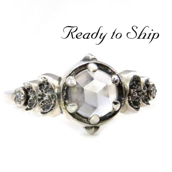 Ready to Ship Size 7 - 9 - Moon Phase White Topaz and White Diamond Sterling Engagement Ring - Pick your Finish