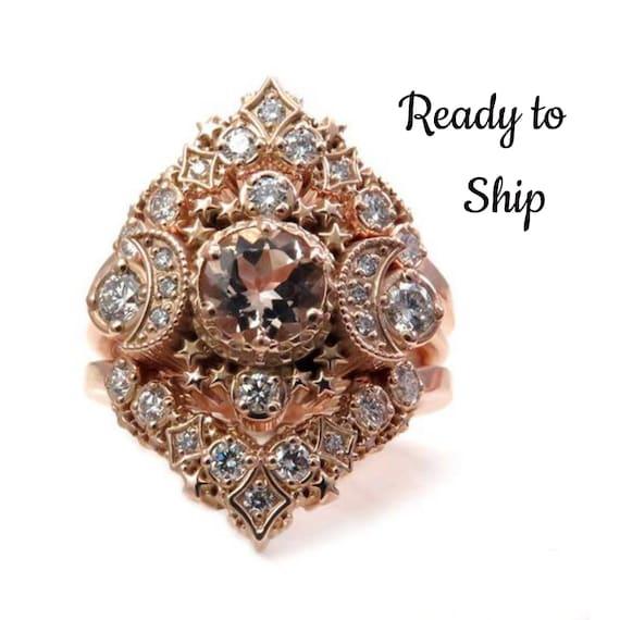 Ready to Ship Size 6 - 8 - Cosmos Constellation Engagement Ring Set - Morganite & Diamonds Celestial Wedding Set - 14k Rose Gold