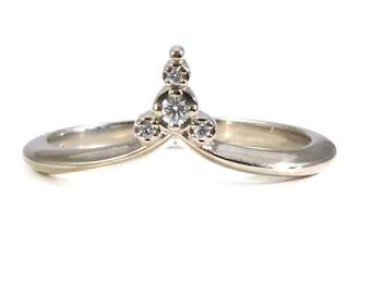 Pointed Diamond Stacking Chevron Side Band - Modern Art Deco Delicate Diamond Ring