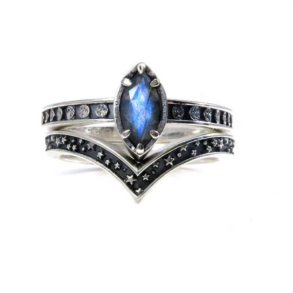 Labradorite Moon and Stars Engagement Ring Set - Sterling Silver Lunar Wedding Rings