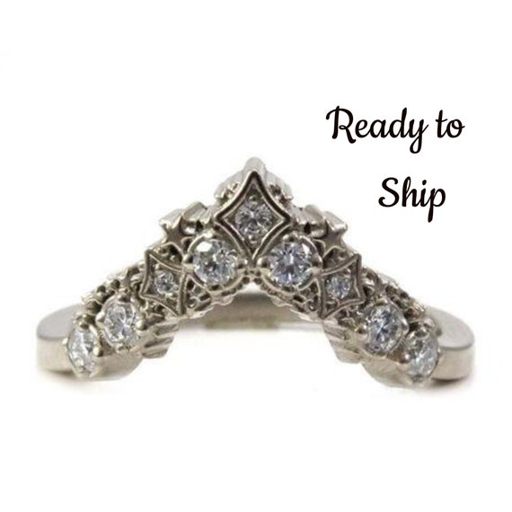 Ready to Ship Size 6-8 - Diamond Stardust Chevron Wedding Band - Bohemain Stacking Wedding Band
