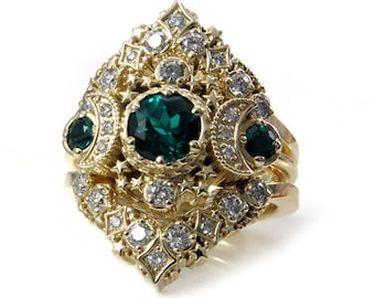 Cosmos Stardust Engagement Ring Set - Chatham Emeralds & Diamonds Moon Wedding Set - 14k Palladium White Gold, Rose Gold or Yellow Gold