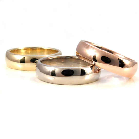 Ready to Ship Size 10 -10.5 Comfort Fit 14k Gold Mens Engagement Ring - 14k Rose or Yellow - High Shine - 6mm