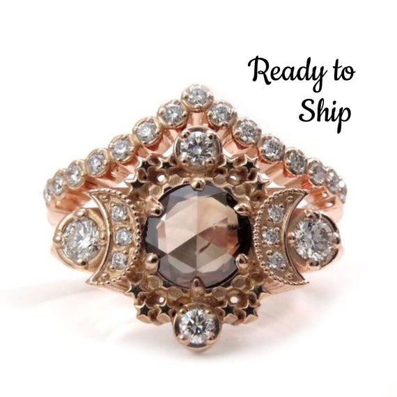 Ready to Ship Size 6-8 -  Rose Cut Champagne Diamond Cosmos Engagement Ring with White Diamonds - 14k Rose Gold - OOAK