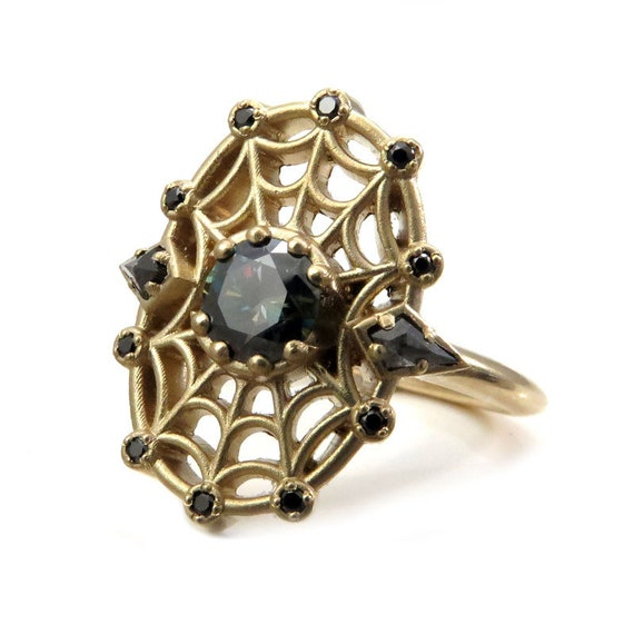 Spider Baby Black Blue Moissanite and Black Diamonds Spider Web Ring - Made to Order