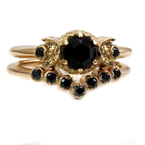 Black Diamond or Spinel Moon Engagement Ring with Tiny Diamond Nesting Wedding Band - 14k Yellow Gold