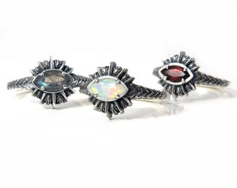 Ready to Ship Size 6 - 8 -Sage Burning All Seeing Eye Ring - Marquise Gemstone in Sterling Silver