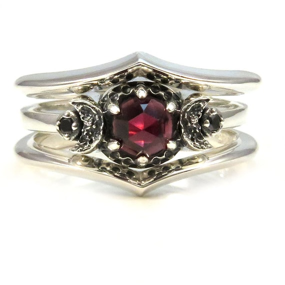 Red Garnet and Black Diamond Crescent Moon 3 Ring Engagement Set - Stacking Silver Rings