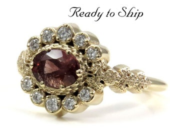 Ready to Ship Size 6 - 8 - POISON PLANT - Oregon Sunstone Oval & Diamond Halo Ring with Poison Leaves