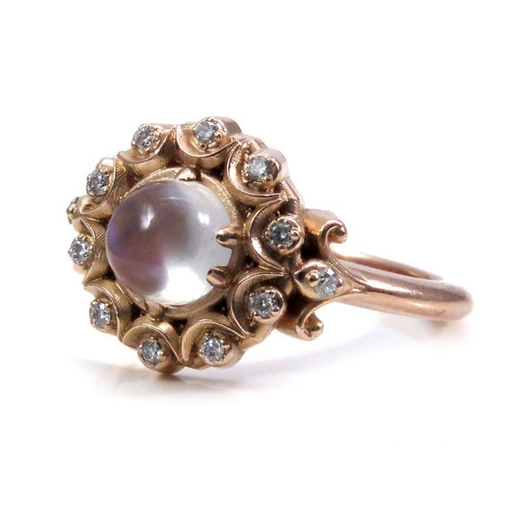 Crystal Ball Bohemian Engagement Ring - Moonstone and Diamonds in Rose, Yellow or White Gold