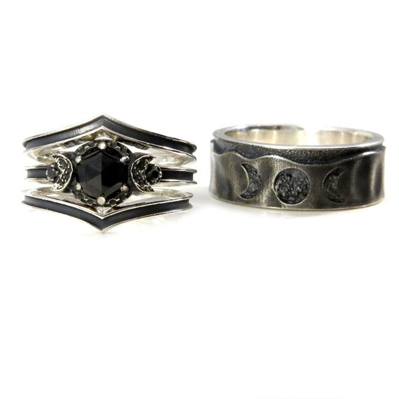 His and Hers Moon Phase Ring Set - Black Spinel and Black Diamonds - Sterling Silver